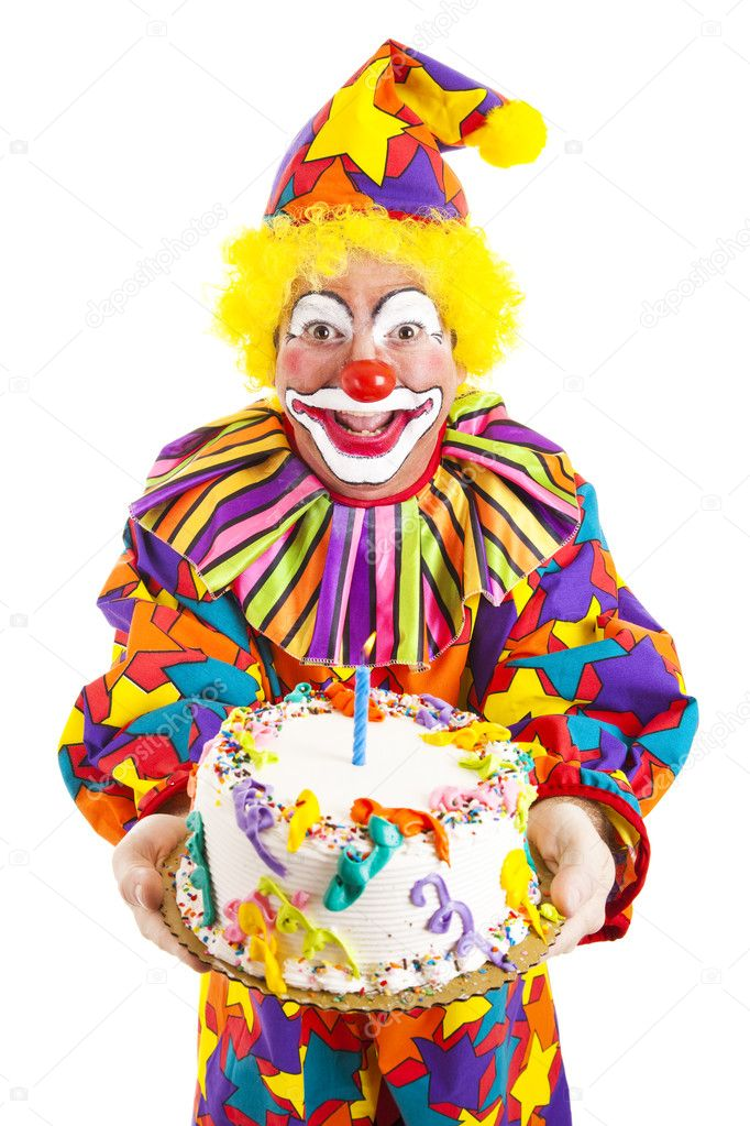 Birthday Clown With Cake Stock Photo lisafx 6802262