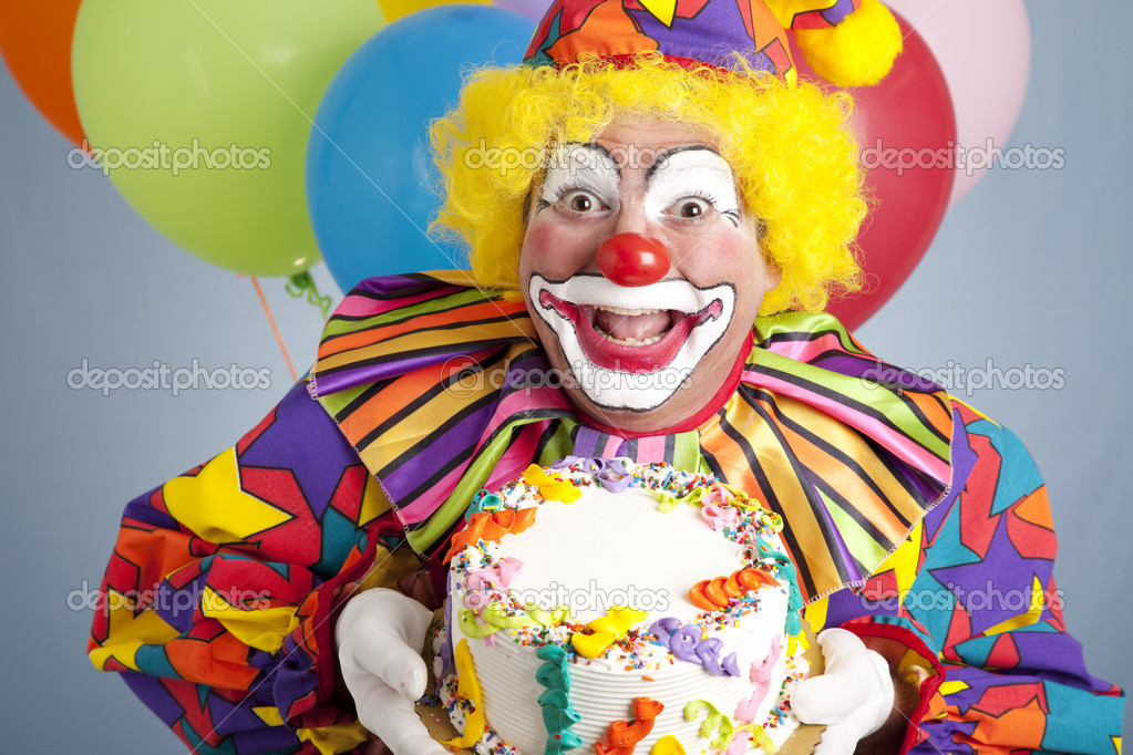 Surprising Clown Birthday Cake Ideas Birthday Clown With Blank Cake Stock Funny Birthday Cards Online Inifodamsfinfo