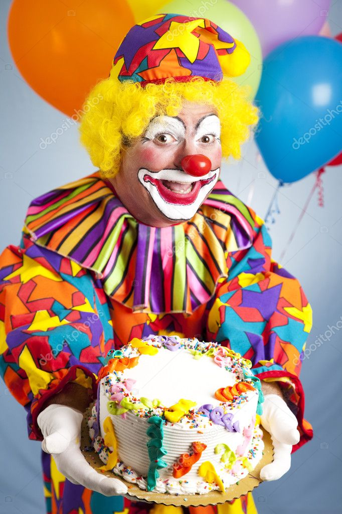 Happy Birthday Clown with Cake Stock Photo lisafx 6802407