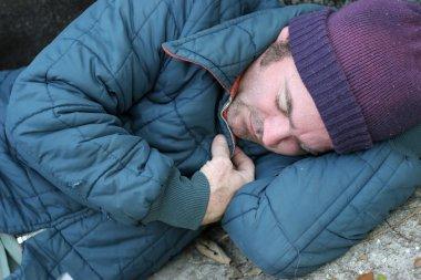 Homeless Man - Sleeping Closeup