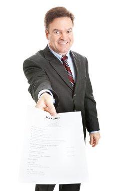 Confident Businessman Presents Resume