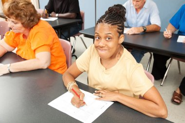 Young Disabled Woman in College