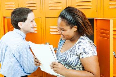 School Kids Talking by Lockers