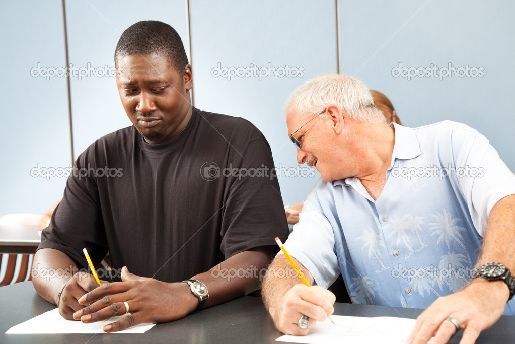 Adult Ed Cheating Stock Image