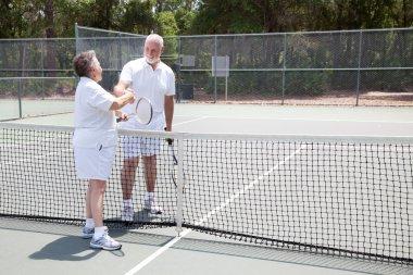 Tennis Seniors Handshake with Copyspace