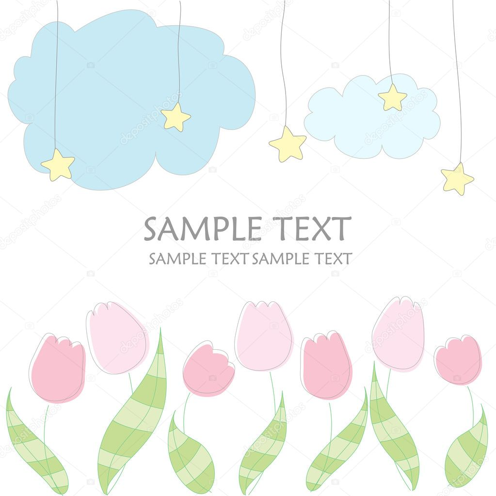 Cute vector baby background with stars, clouds and tulips