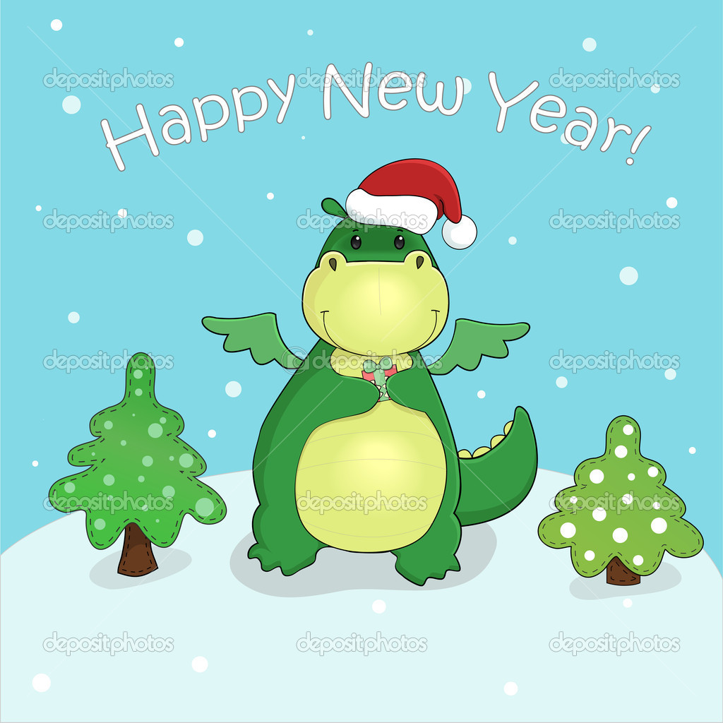 vector card with cute cartoon dragon with gift and christmas trees