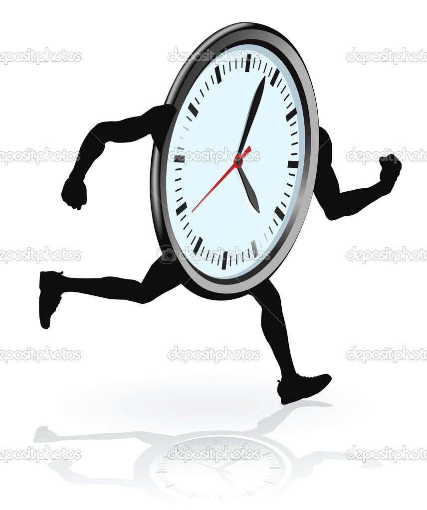 Clock character running