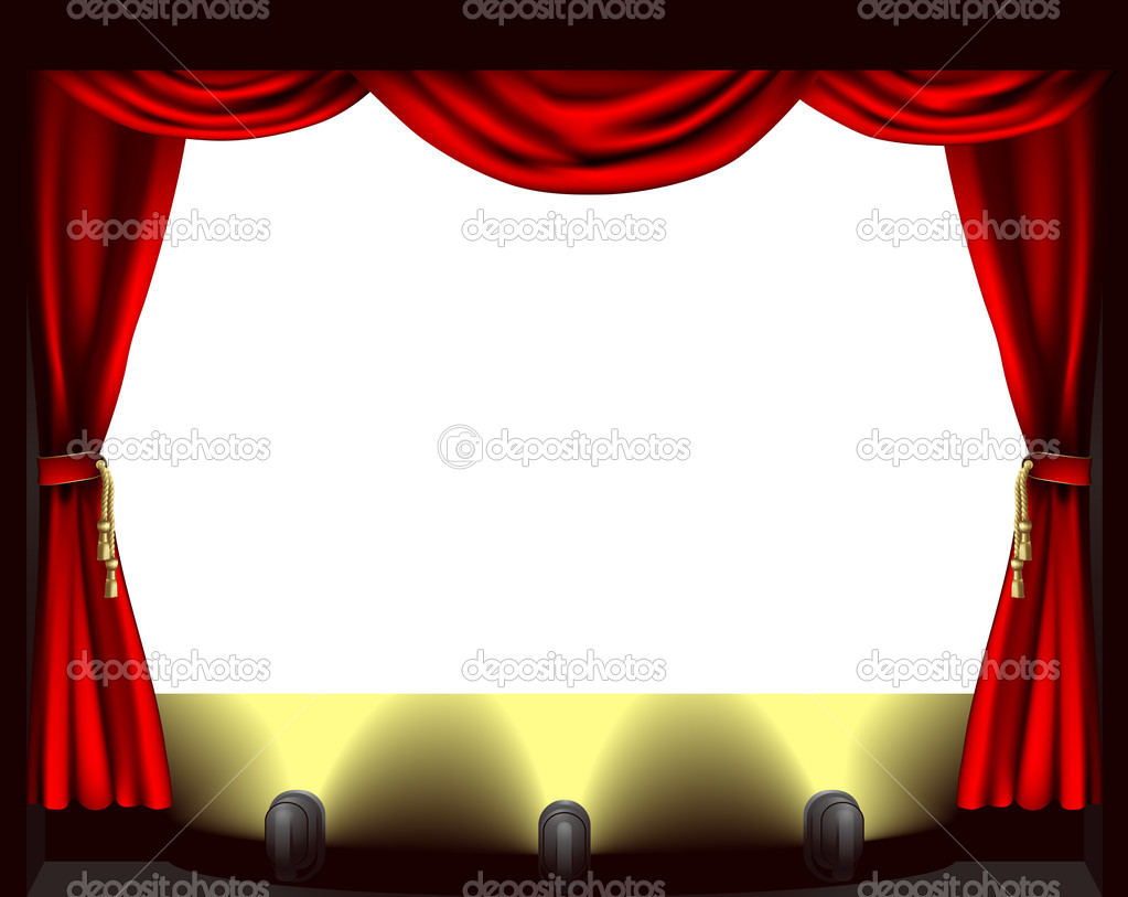 Stage curtains animation - Theatre Stage Vector Graphics