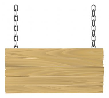 Wooden sign on chains illustration