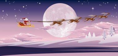 Santa flying in front of winter moon