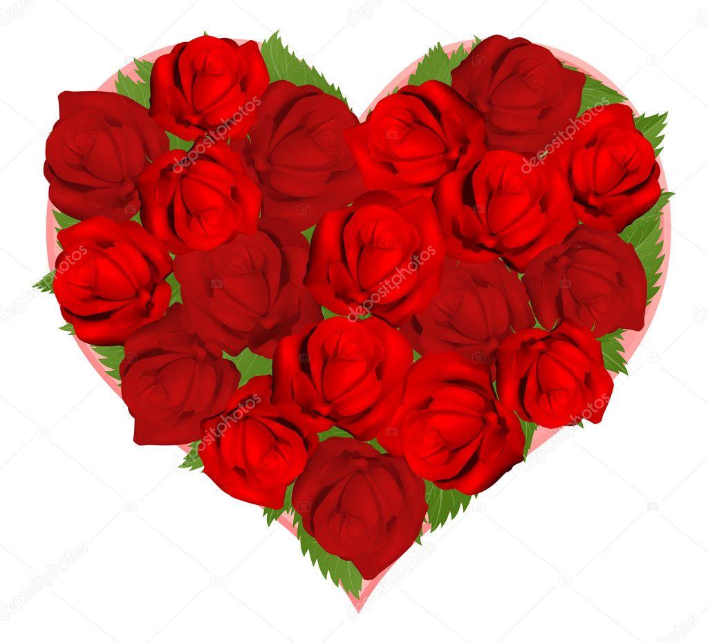Beautiful red roses in heart shape stock vector krisdog 7955169 beautiful red roses in heart shape stock vector izmirmasajfo