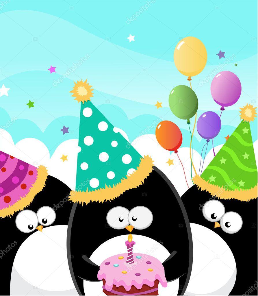 Картинка с днем рождения пингвины