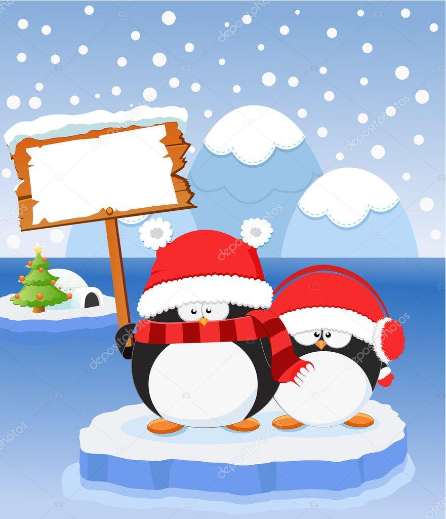 Der Pinguin Weihnachtsbotschaft — Stockvektor © PinarInce #7474633