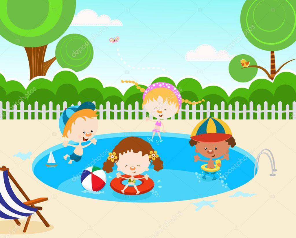 Ni os en la piscina vector de stock pinarince 7573499 for Piscina quintanar de la orden