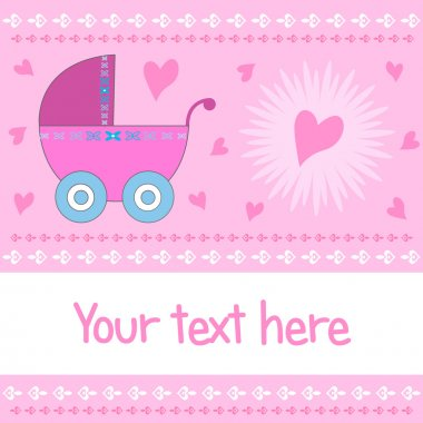 Baby girl arrival greeting card with pink stroller and harts with copy space. Available as a Vector in Adobe illustrator EPS format. stock vector