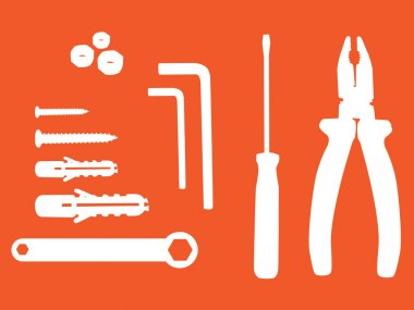 Household tools silhouette illustration stock vector