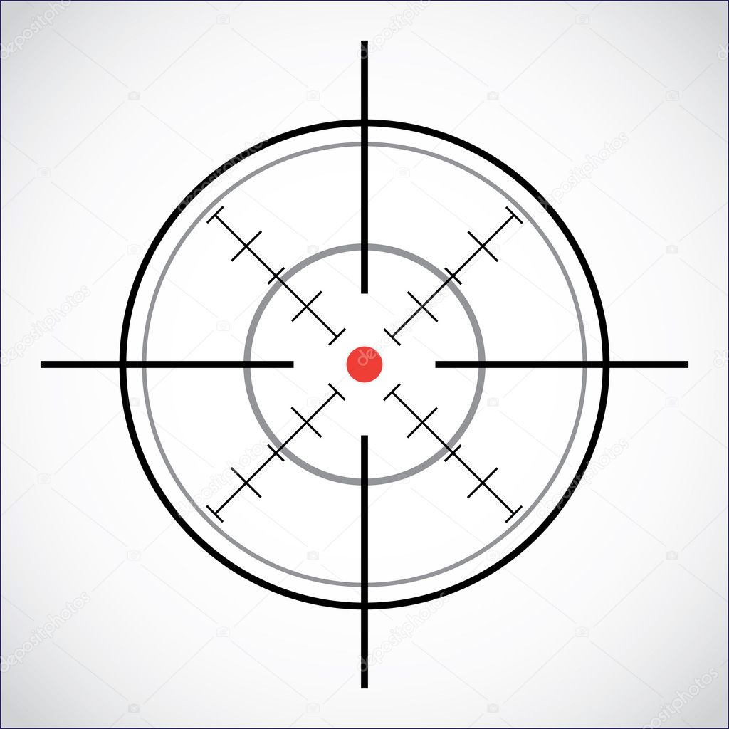 Crosshair with red dot - illustration stock vector
