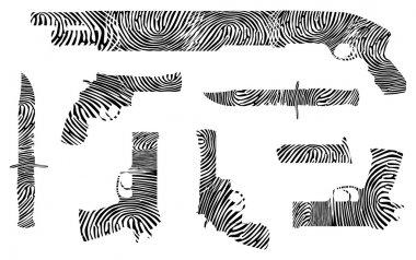 Weapons fingerprint silhouette