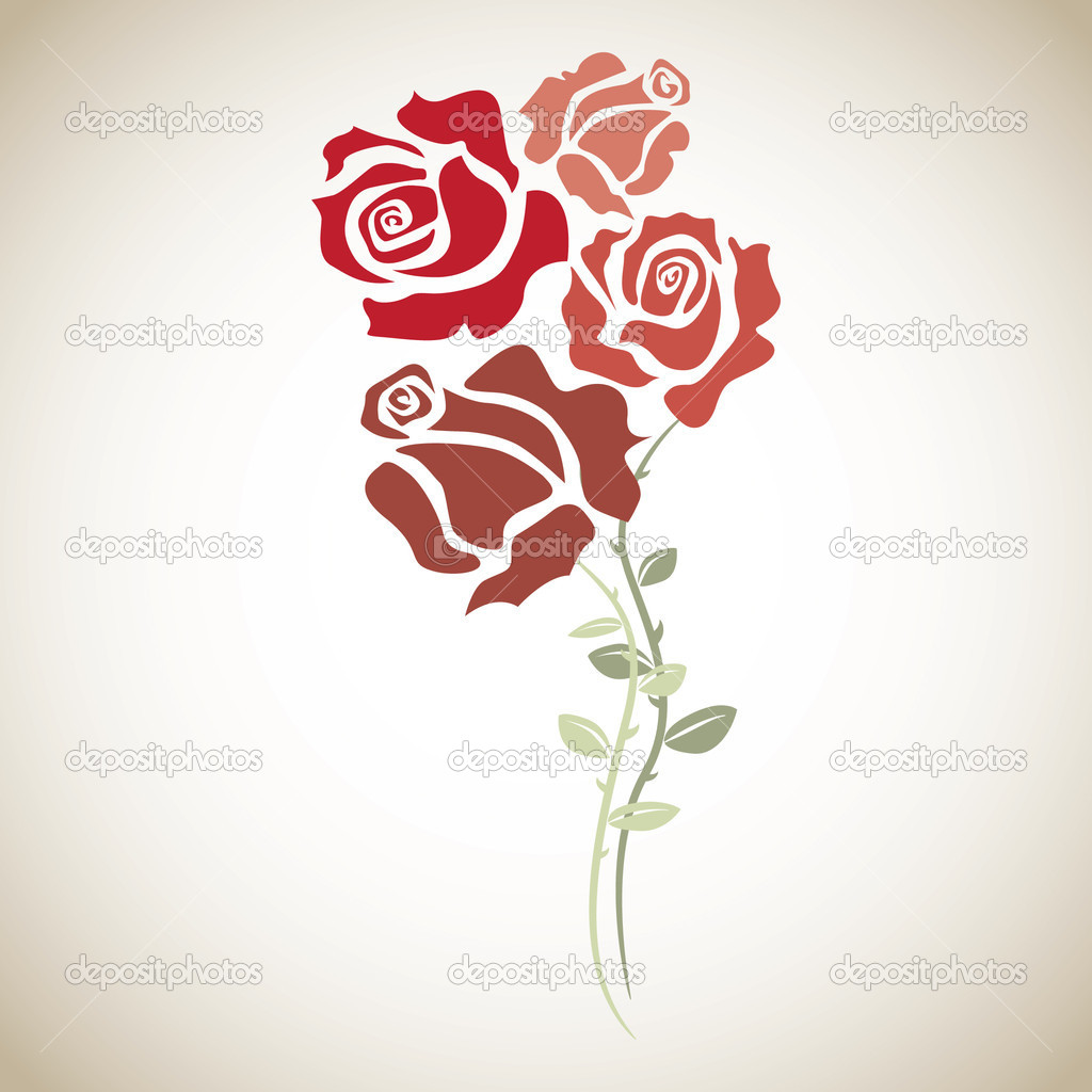 Four red roses