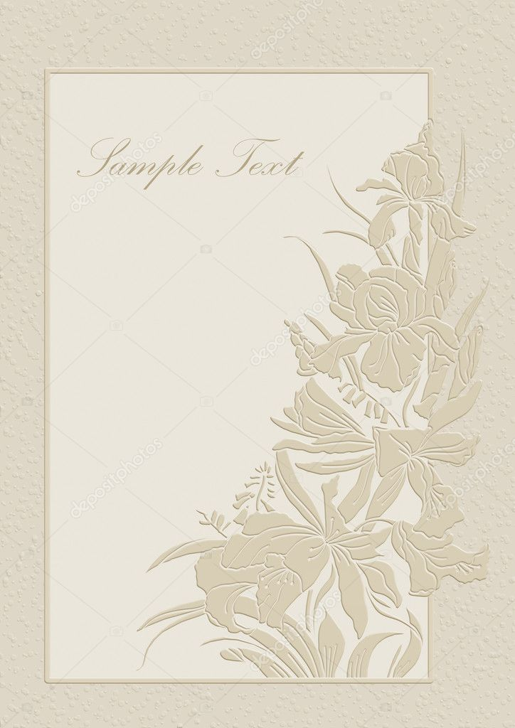 Cute Wedding Invitation Card With Orchids And Lilies. U2014 Photo By Art321