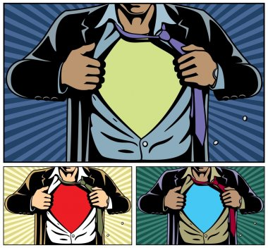 Superhero under cover, comic book style. Add your logo on the shirt. Colors are very easy to change. No transparency and gradients used. stock vector