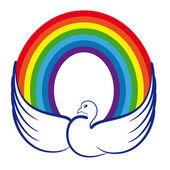 Fotografia immagine di una colomba con un arcobaleno come simbolo di pace nel mondo, pacifica childho
