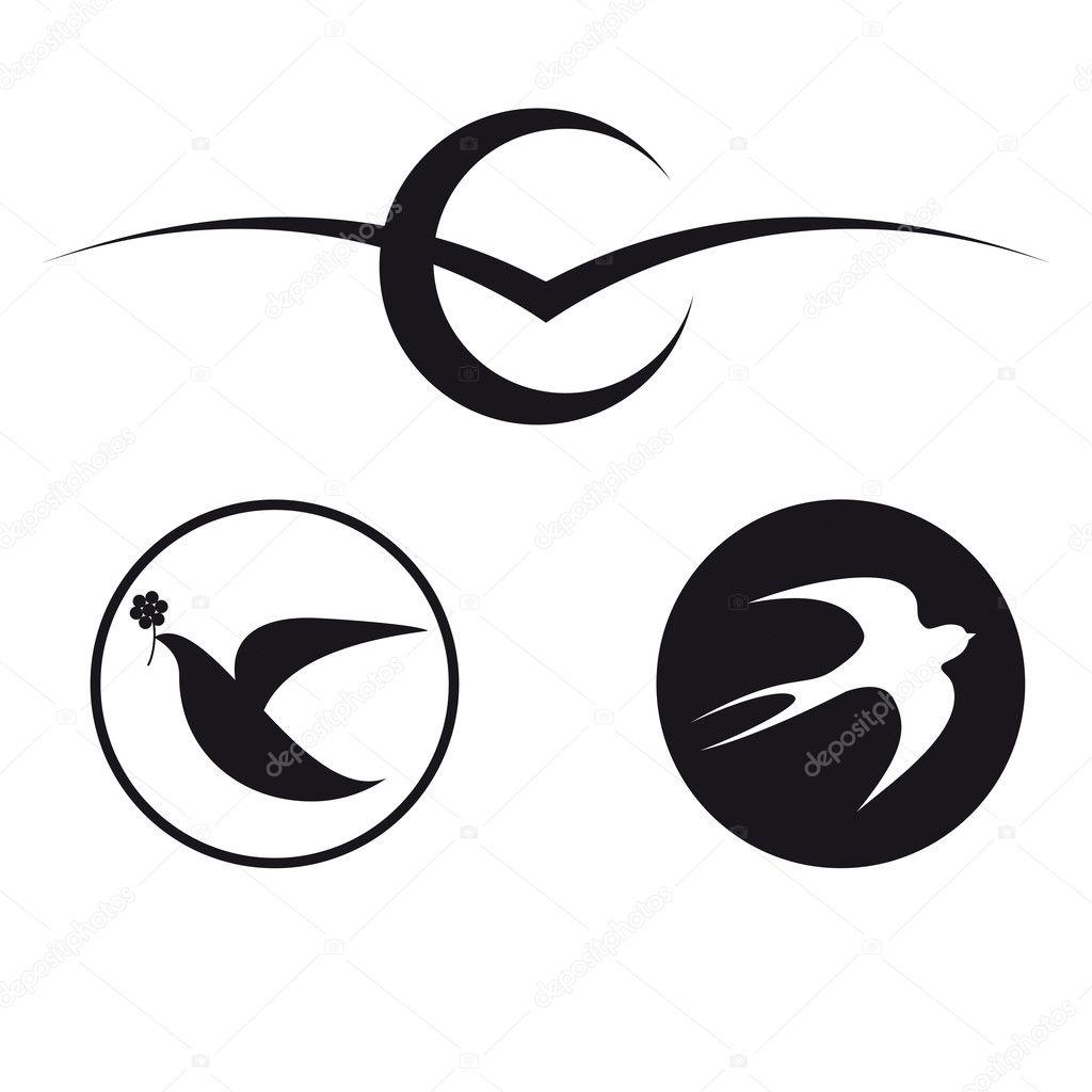 Logos depicting various birds: a seagull, a dove, a swallow.