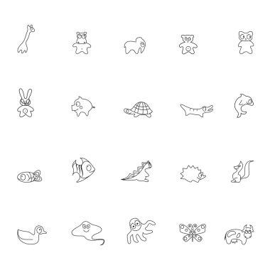 Set of contour animals