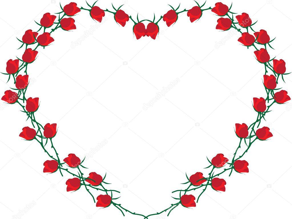 Moldura em forma de coração. coração de rosas vermelhas ...