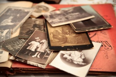 Old photos and old book.