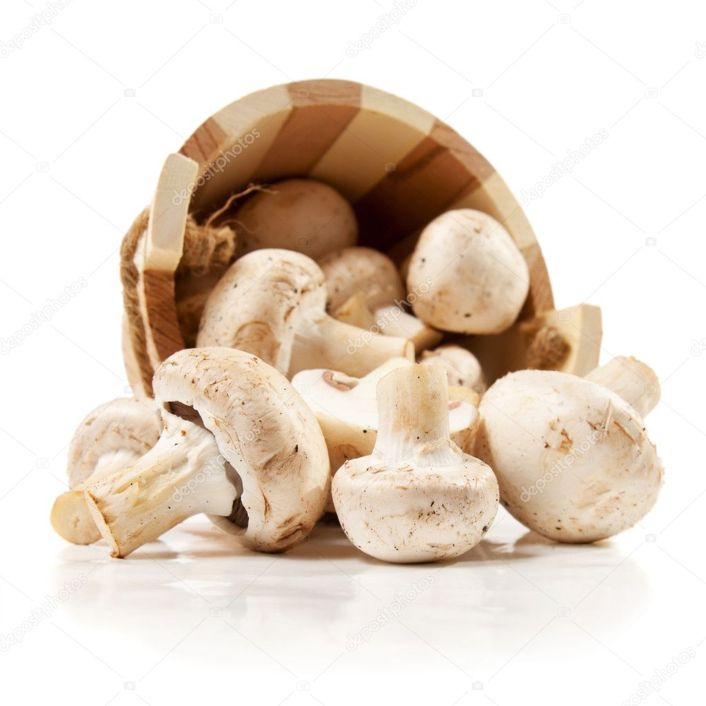 Mushrooms champignon scattered from a wooden bucket