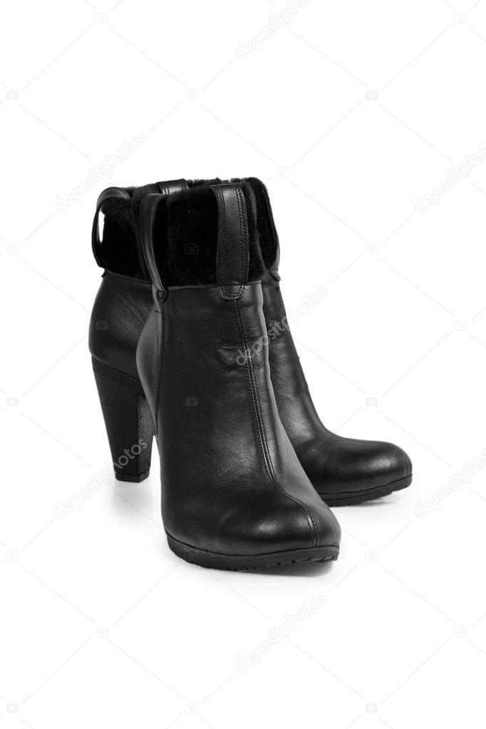 Stilvolle Leder schwarz Damen-Stiefel, die isoliert auf weißem Hintergrund  — Foto von tarog a8691175d4