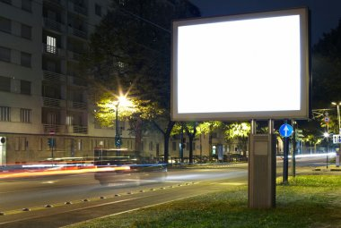 Billboard in the city street, blank screen
