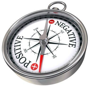 Positive negative words on compass conceptual image