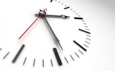 Time clock closeup on whte