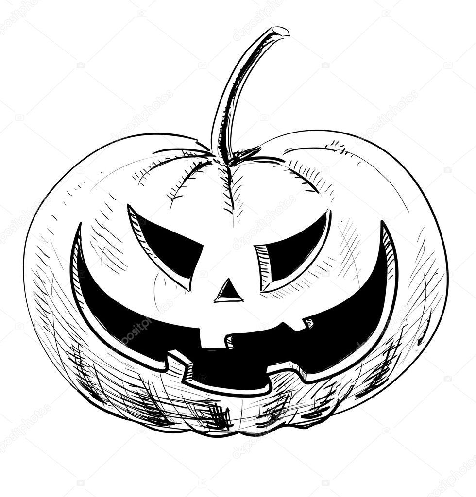 abóbora de halloween com sorriso assustador mal vetor de stock