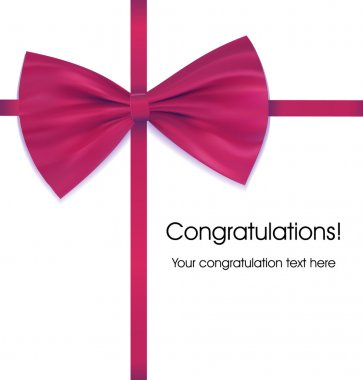 Bow on ribbon venous with congratulations