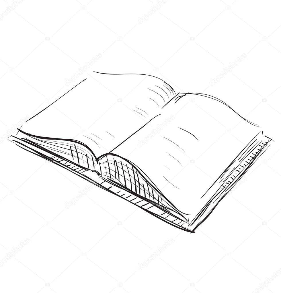 Sketch open book icon — Stock Vector © Chuhail #7413145