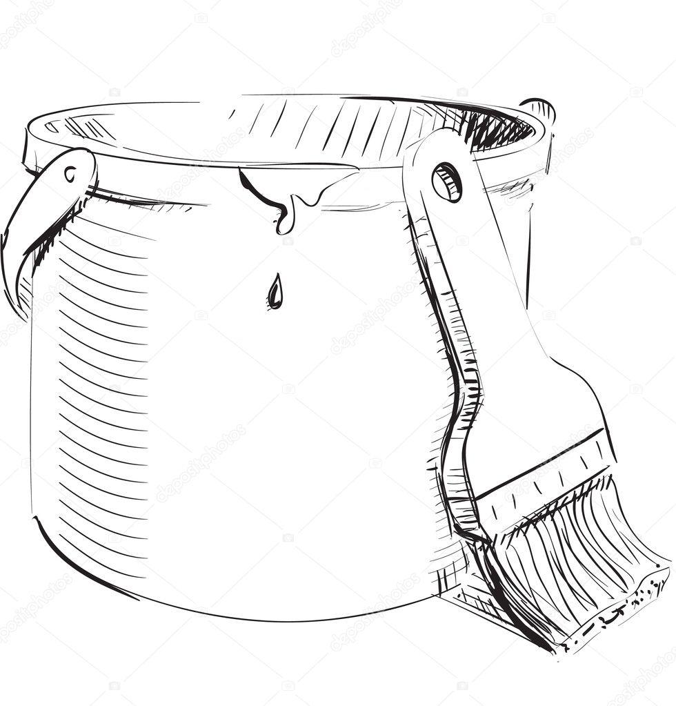 Pot de peinture avec pinceau — Image vectorielle Chuhail ...