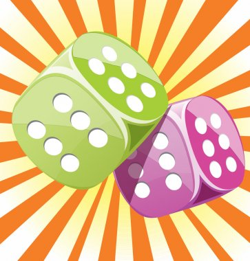 Dice lucky glossy vector illustration