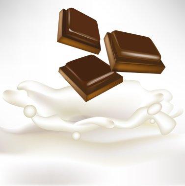 chocolate pieces falling in milk splash