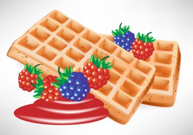 two belgian waffles with berry