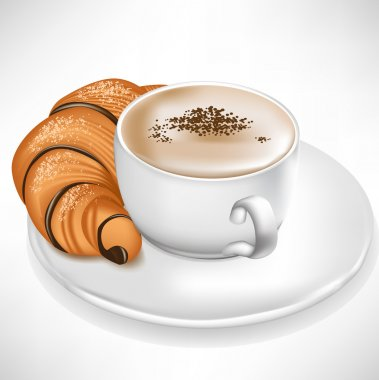 croissant served with coffee cup