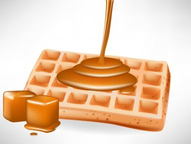 belgian waffles with caramel pouring