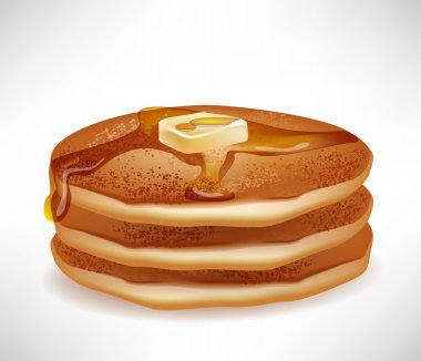 simple pancakes with butter and caramel syrup