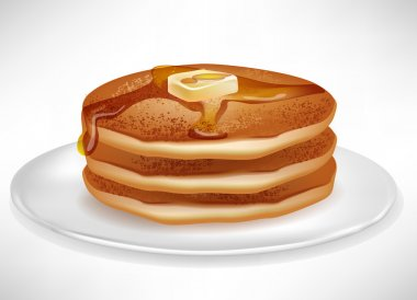 pancakes with butter and caramel syrup