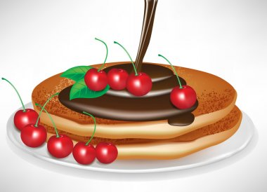 two pancakes with chocolate poring and cherries