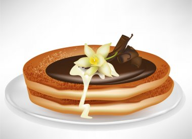 two pancakes on plate with vanilla and chocolate cream