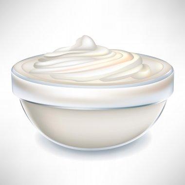 yogurt cream in transparent bowl
